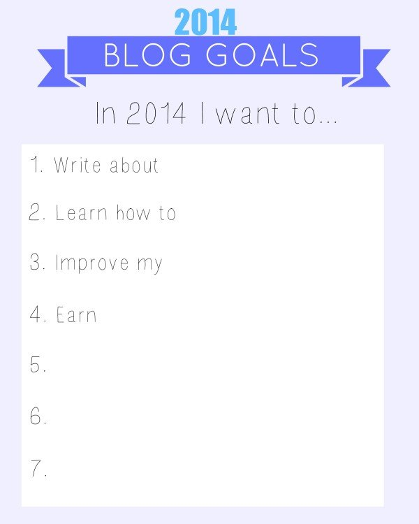 blog goals worksheet