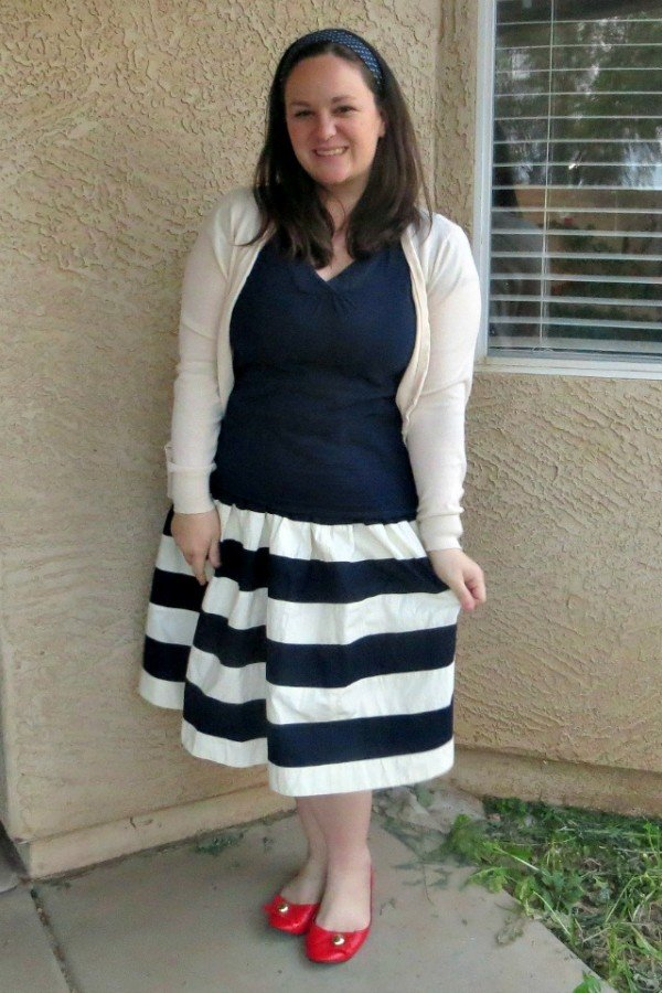navy striped skirt