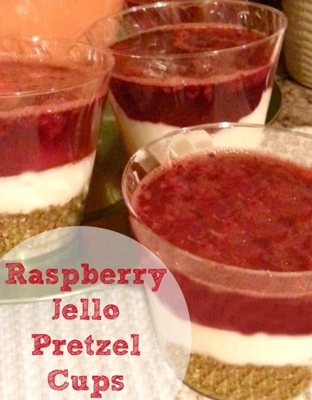 Raspberry Jello Pretzel Cups {mini pretzel recipe}