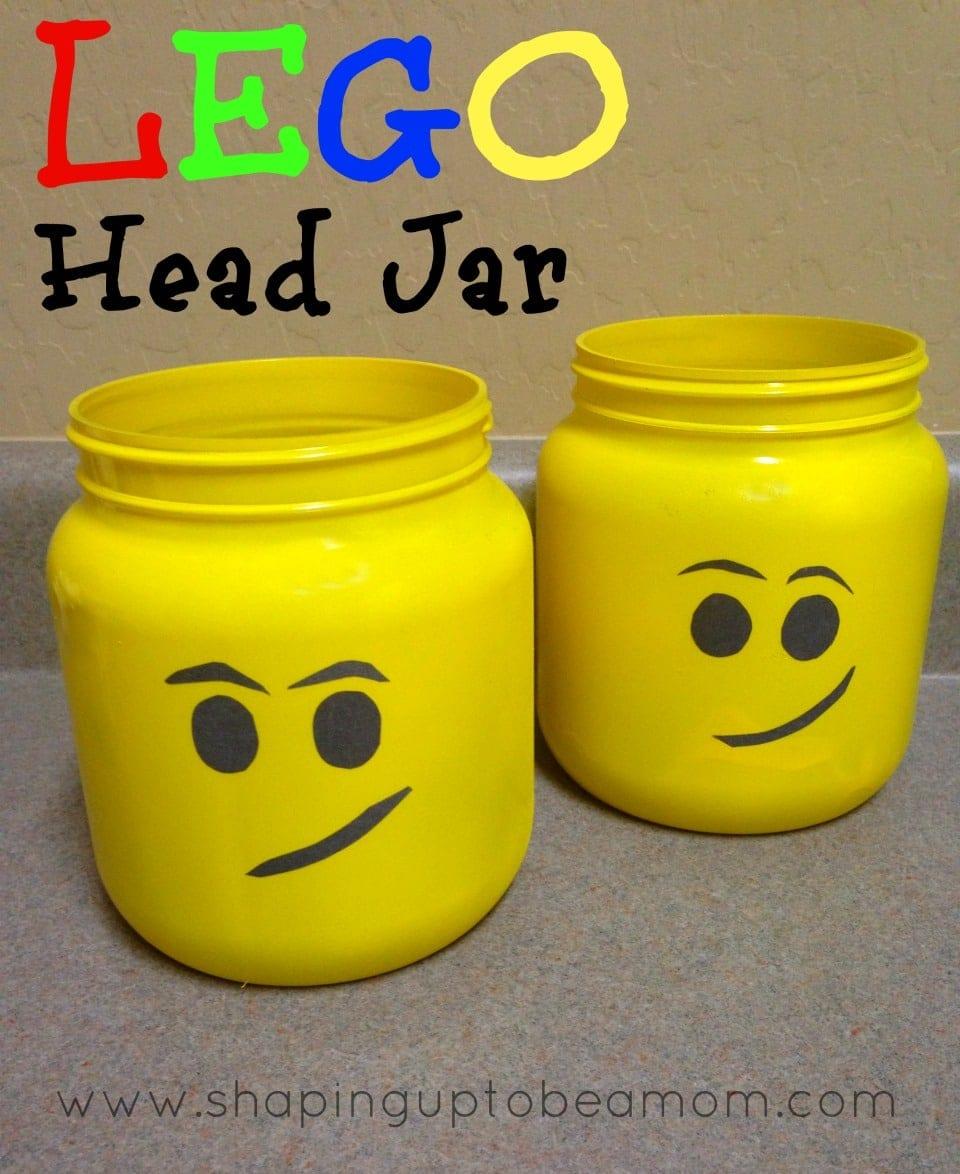 Lego Head Jar {Lego Party Ideas}