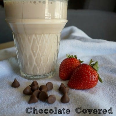 Chocolate Covered Strawberry Easy Protein Shake {Two Ingredients!}