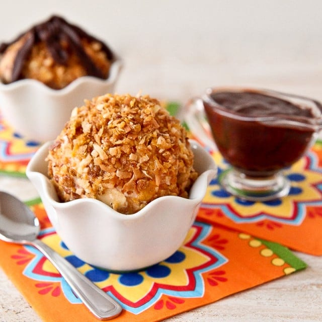 Easy Fried Ice Cream with Honey Bunches of Oats
