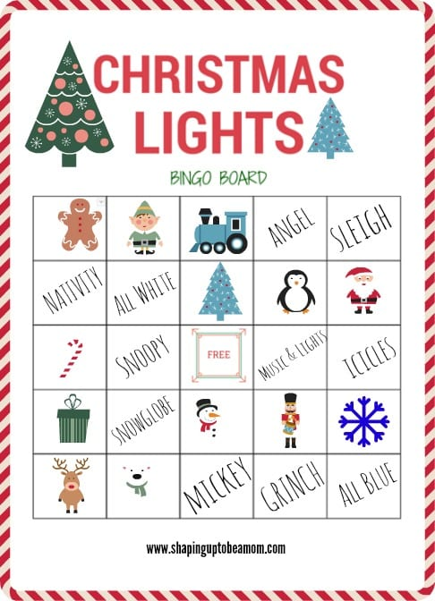 Christmas Lights Bingo Board- a fun way to experience Christmas lights with your family!