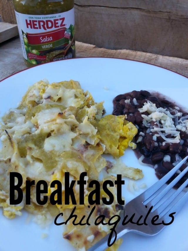 Breakfast Chilaquiles- A simple version of a traditional Mexican dish made with eggs, tortillas and salsa. #HERDEZ #LasPosadas #ad