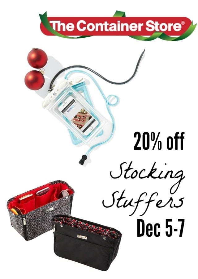 The Container Store has 20% off their awesome stocking stuffers and small gifts this weekend, December 5-7!