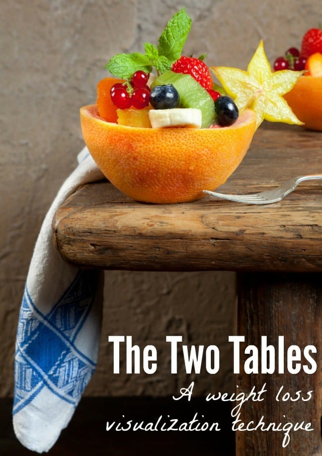 """Smart Idea Alert! Visualizing two tables full of food, can help you make better food decisions! Read more about this weight loss technique and Marilyn McKenna's book """"Eat Like It Matters"""" in this blog post!"""