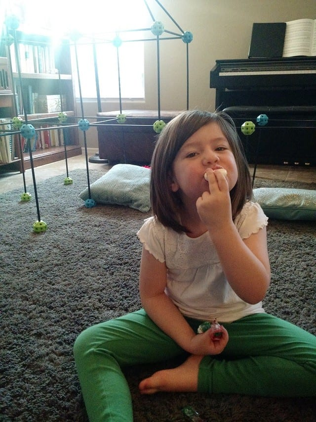 Vanessa eating Mini Babybel