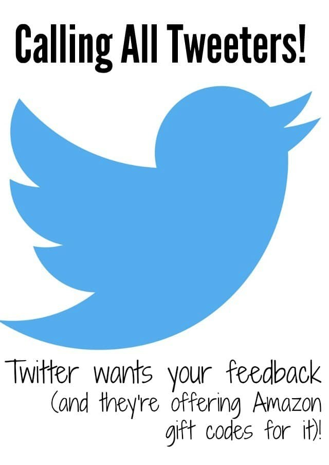 Twitter Users Needed! Twitter is offering Amazon gift codes for active users who are willing to share feedback on the Twitter platform in an exclusive online community. Click to apply!