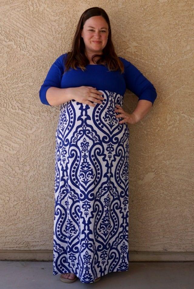 blue damask maternity dress