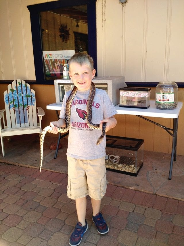 Carter with snake
