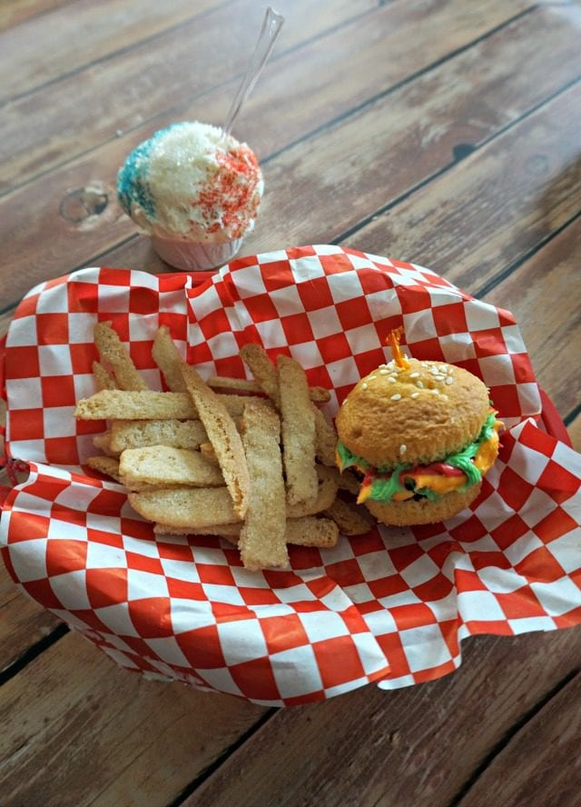 Dessert Burger with Fries and a Snowcone Cupcake