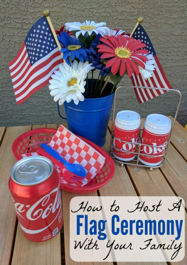 It's simple and fun to put together a flag ceremony with your family, to celebrate patriotic holidays! #USOCarePacks [ad]